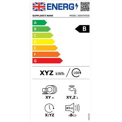UK comparative energy efficiency label - example